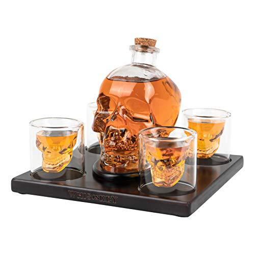 Whisiskey® Dekantierkaraffe - Schädel - Whiskey-Karaffe-Set - 900 ml - Geschenk für Männer und Frauen - Inkl. 9 Whisky-Steine, Geschenktülle und 4 Gläser