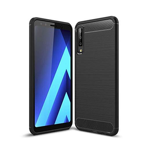 Toppix Cover per Samsung Galaxy A7 (2018), Custodia Sottile e Morbida Protettiva in Silicone TPU [Fibra di Carbonio] per Galaxy A7 (2018), Nero