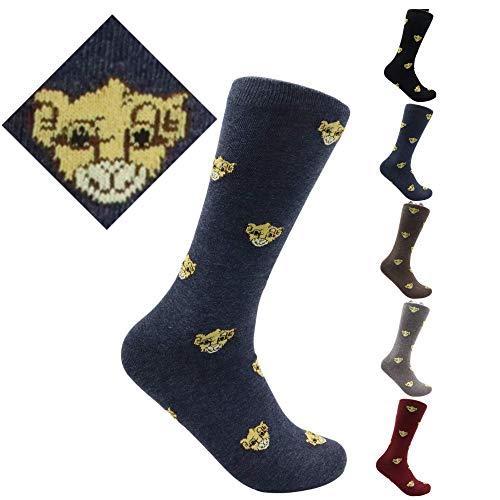 Trendcool Calcetines Hombre Algodón 100% Talla 40-46. Pack 3 Calcetines Largos Estampados. Calcetines con Dibujos Altos Colores Graciosos. Calcetines Algodón Hombre para Invierno. Leones. (M4)