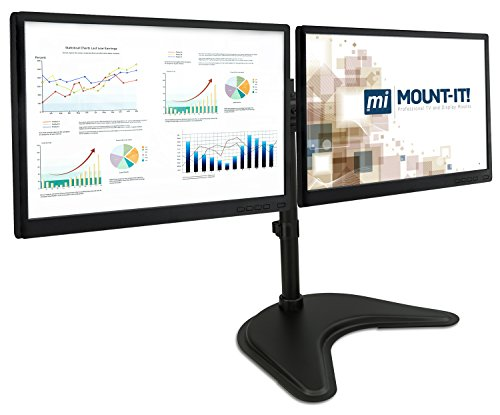 Mount-It! Free Standing Dual Monitor Stand | Double Monitor Desk Mount | Fits Two x 19 20 21 22 23 24 27 Inch Computer Screens | 2 Heavy Duty Height Adjustable Arms | VESA Compatible 75 100