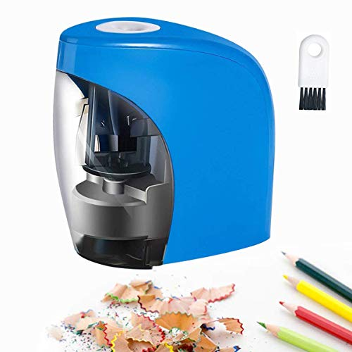 Baseman Electric Pencil Sharpener, Battery AC and USB Powered Pencils Sharpener for NO.2 and Colored Pencil Kids Adults Stationery Automatic Heavy Duty Fast Sacapuntas for Office, Classroom, Home Blue