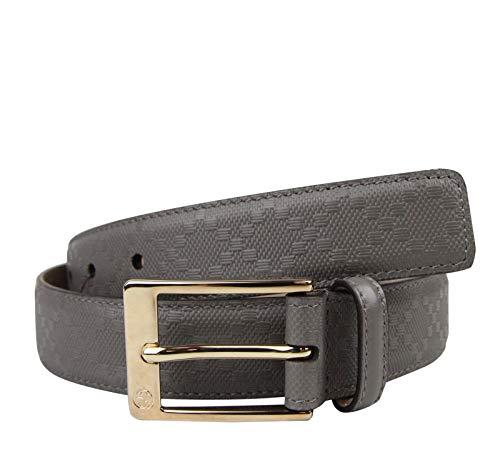 Gucci Men's Gray Leather Diamante Square Buckle Belt 345658 1226 (110/44)