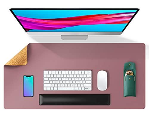Aothia Schreibtischunterlage,umweltfreundliche Naturkork & PU-Leder doppelseitige 80x40cm Mauspad, wasserdicht PU-Leder Tischunterlage Schreibtischschutz für Büro/Heimspiele(violett)