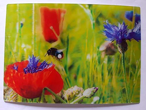 3 D Ansichtskarte Hummel, Postkarte Wackelkarte Hologrammkarte Tiere Biene Mohnblume Blumen