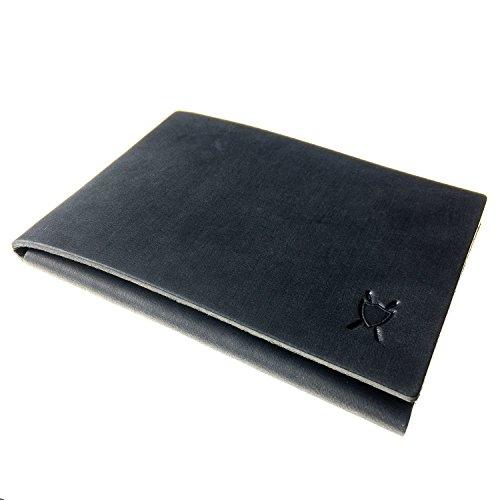 LIEBHARDT - Ganz simples schlichtes Portemonnaie aus pflanzlich gegerbtem Leder handgenäht (Schwarz)