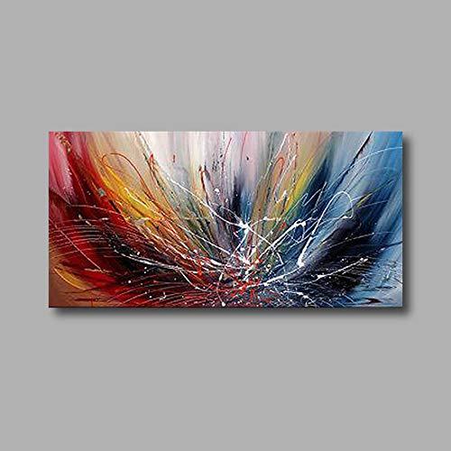 """HIMAmonkey 100% Tableau Peinture Huile sur Toile Moderne Art Decoration Mural Peinture Ligne Tableau Acrylique Peint à la Main avec Cadre Bois,24""""*48""""(60 * 120cm)"""
