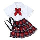 inlzdz Uniformes Escolares Niñas Japonés Coreano Niñas Conjuntos de Top y Falda para Niña Camisa Manga Corta + Falda Plisada de Tirantes Blanco 4-5 años