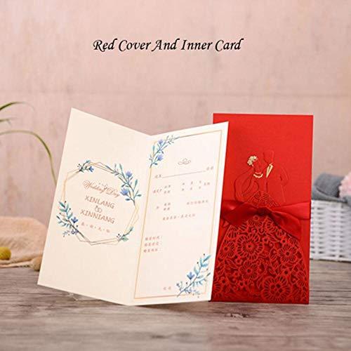 Piero 1PCS Bruid Bruidegom Trouwkaarten Kaart Enveloppen Met Lint Bruiloft Feestartikelen, Cover En Inner Card