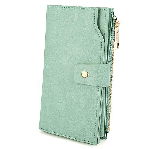 UTO Damen Geldbörse Card Holder RFID-Blocking PU-Leder mit großem Tragegriff (21 Kartenfächer) Innentasche Geeignet für Laptops 5.5' Green2