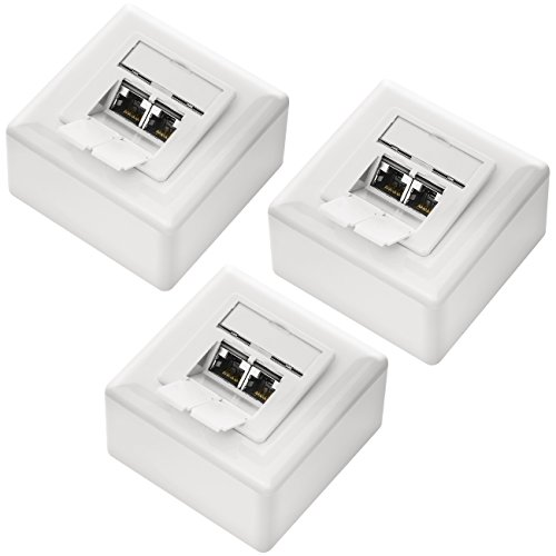 deleyCON 3X CAT 6 Universal Netzwerkdose - 2X RJ45 Port - Geschirmt - Aufputz oder Unterputz - 1 Gigabit Ethernet Netzwerk - EIA/TIA 568A&B - Weiß