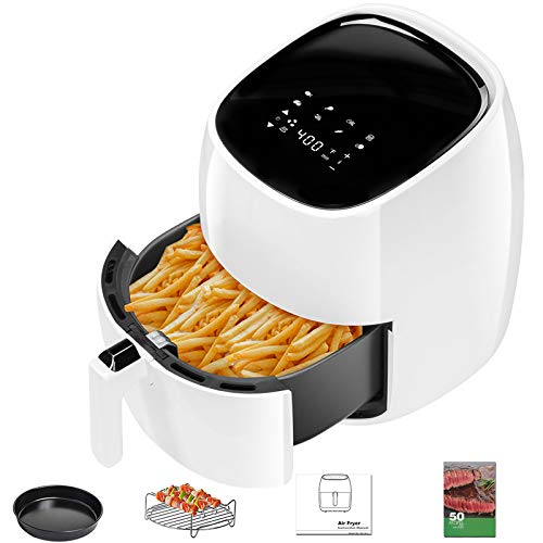 Chefway 7 Quart Air Fryer 8 in 1 1700W Large Family Size Air Fryers XL with Detachable Nonstick Basket and 50 Recipes White