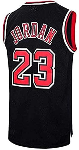 CCET Trikots Männer Jersey, NBA # 23 Michael Jordan Bulls Retro, Retro Basketballspieler Jersey, Breathable Wearable gesticktes T-Shirt Jerseys (Color : Black Stripe, Size : L)
