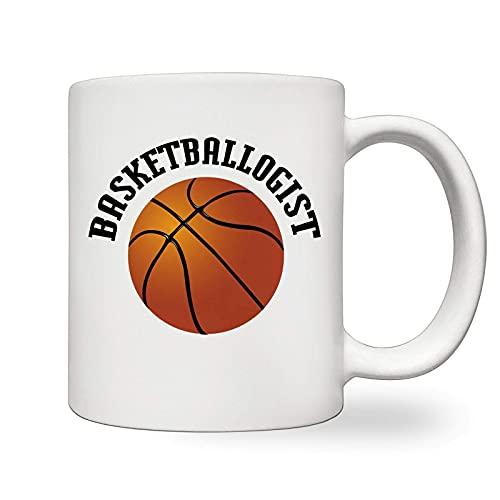 Interesting Cup - Taza de cerámica blanca con diseño de canasto para deportes de tuerca de baloncesto de 11 onzas