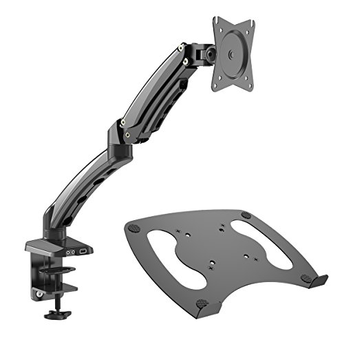 Gibbon Mounts Monitor Desk Mount with Full Motion Gas Spring Riser VESA 75X75 and 100X100 or Free Removable Strong Steel Tray for Laptop 13' to 17'