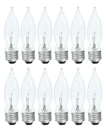 Set of 12 GE 75333 Crystal Clear 40 Watt Bent Tip Standard Base Light Bulbs!