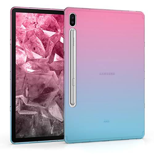 kwmobile Cover Compatibile con Samsung Galaxy Tab S6 - Custodia Tablet in Silicone TPU - Copertina Protettiva Tab - Backcover - 2 Colori Fucsia/Blu/Trasparente