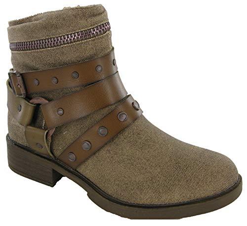 Blowfish Malibu Violah Damen-Stiefeletten, seitlicher Reißverschluss, niedriger Absatz, modische Schuhe, - bronze - Größe: 36 EU