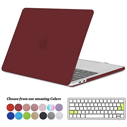 TECOOL MacBook Pro 13 inch Case 2019 2018 2017 2016, Plastic Beschermhoes en EU Toetsenbordhoes voor Apple MacBook Pro 13 met/zonder Touch Bar Model: A2159 / A1989 / A1706 / A1708 - Wijn Rood