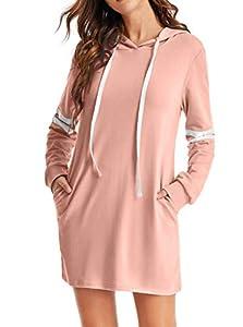 SweatyRocks Women's Striped Long Sleeve Casual Pullover Hoodie Sweatshirt Dress