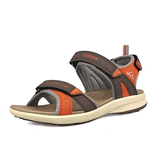 GRITION Sandalias de Trekking Mujer Verano Cierre de Ajustable Sandals de Exterior Sandale de Senderismo Cómodas Planas Sandalia de Deporte Abierto Zapatos de Agua Zapatos Ligeros Naranja (36 EU)