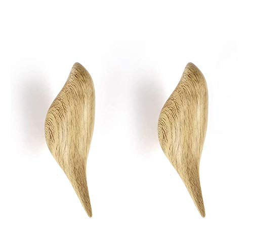 ANZOME Holz Haken, 2 Vogel Holz Kleiderhaken, Holzhaken Zum Aufhängen Von Mänteln, Mützen, Schals, Jacken, Kleidung und Kopfhörer im Schlafzimmer, Wohnzimmer, Flur