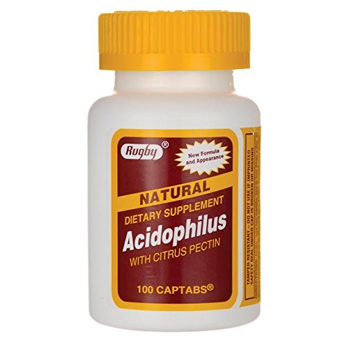 [3 Pack] Rugby Natural Acidophilus with Citrus Pectin 100 Count (Pack of 3)