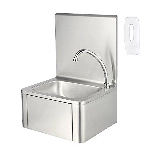 Zelsius Edelstahl Handwaschbecken mit Kniebetätigung und Seifenspender | Waschbecken für hygienisches Händewaschen | Industrie Waschtisch, Wandwaschtisch für Gastronomie, Küche und mehr
