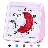 Yunbaoit - Temporizador analógico Visual, Cuenta atrás silencioso, Herramienta de gestión del Tiempo para niños y Adultos (Rosa)