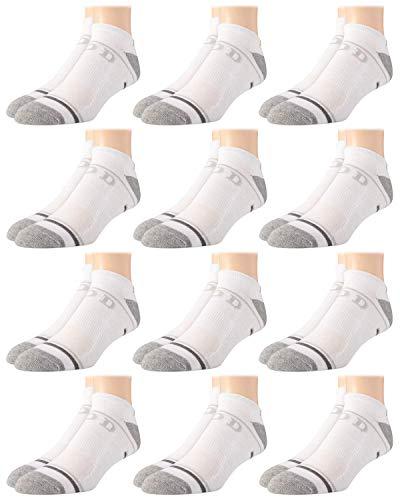 IZOD - Calcetines para hombre, corte bajo, sin demostración, rendimiento atlético, juego de 12 unidades, talla de zapato: 6 – 12,5, color blanco