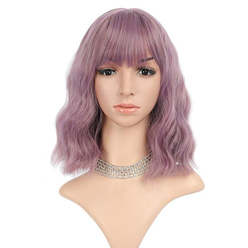 FAELBATY Purple Wig With Bangs Shoulder Length Bob Wig Synthetic Cosplay Wig for women Costume Wigs (12' Mix violet Purple Color )