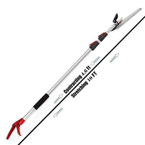 Mesoga 4.6-10 Foot Extendable Tree Pruner, Cut and Hold Pruning Trimmer, Long Reach Pole Saw, Telescoping Fruit Picker, Branches Bypass Lopper