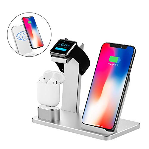 YOMENG Ladegerät Halterung für Apple Watch 3 in 1 Wireless Qi Schnellladestation Aluminium für iPhone X XS Max XR 8 Plus iPad AirPods iWatch Serie 4/3/2/1 Samsung Note8/S8/S9 Plus(Silber)
