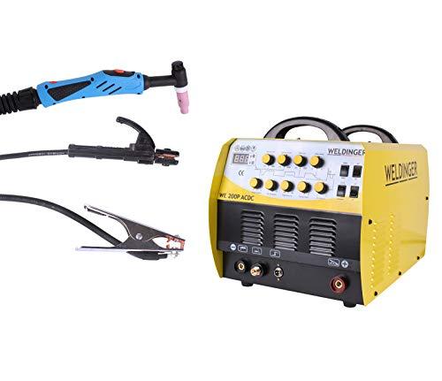 WELDINGER WIG-Schweißgerät WE 200P AC/DC - Inverter HF-Zündung zum Schweißen von Aluminium (Elektroden Schweißinverter)