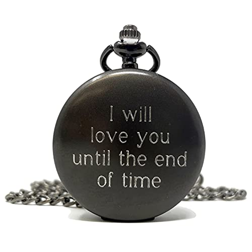 Personalized Gunmetal Pocket Watch with Chain love quote