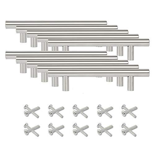 Meisax 10 tiradores para armarios de cocina, de acero inoxidable, con forma de T, para puertas o cajones, tamaño pequeño, distancia entre ejes: 64 mm