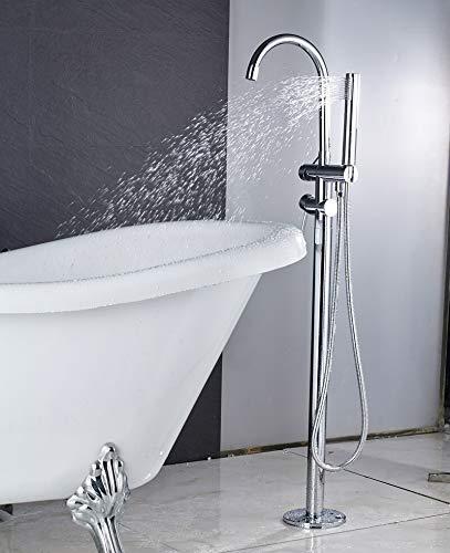 Wannenarmatur abgerundete Form stehend Wasserhahn Badarmatur Boden montiertes Duschset mit Handbrause freistehend Farbe: Chrom