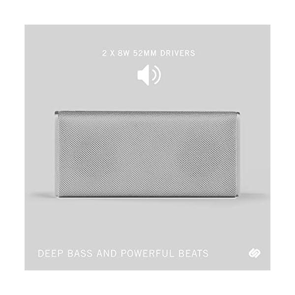 Wireless Speaker, Bluetooth 5.0, 10-Hour Play Time, Splash-Proof, 16w Driver Power, Portable – White 6