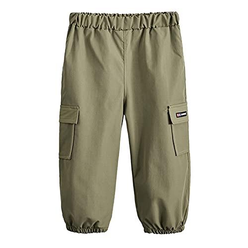 Aislor Pantalones Largos Bebé Niños Pants Pantalón Cargo con Bolsillos Pantalones Anchos de Moda Pants Recién Nacidos Pantalones Color Negro Caqui Militar Verde Oscuro 12-18 Meses