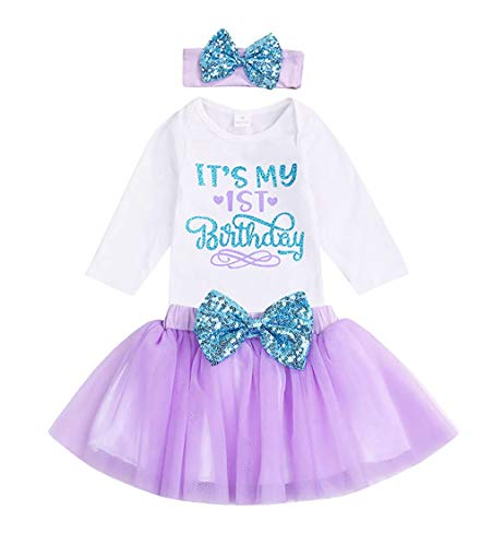 Newborn Baby Girl's It's My 1st Birthday Infant Outfits Romper Shiny Printed Sequin Bowknot...
