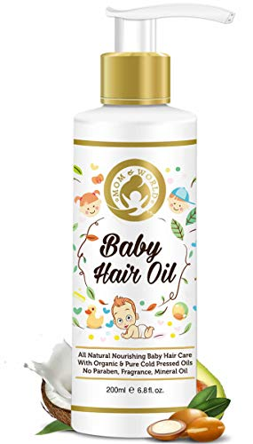 Mom & World Baby Hair Oil, 200ml - with Organic & ColdPressed Natural Oil for Kids