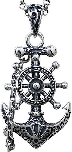 ZGYQGOO Retro Anhänger Halskette Trendy Männlich 925 Silber Ruder Anker Halskette Für Männer Sterling Silber Edlen Schmuck
