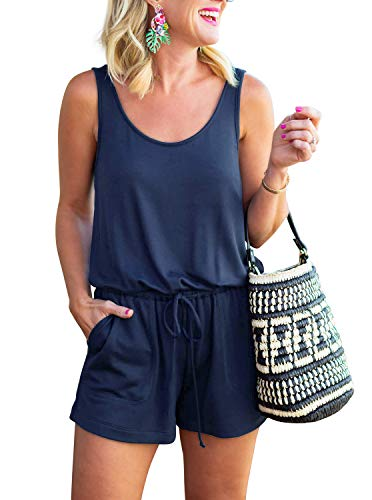 REORIA Womens Casual Summer One Piece Sleeveless Tank Top Striped Playsuits Short Jumpsuit Beach Rompers Navy Blue Medium
