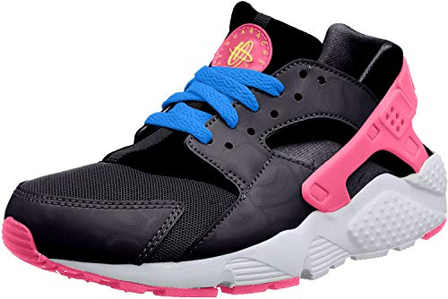 Nike Mädchen Huarache Run (GS) Laufschuhe, Mehrfarbig(Schwarz / Grün / Rosa / Blau (Schwarz / Volt-Rosa Pow-Foto Blue), 37 1/2 EU