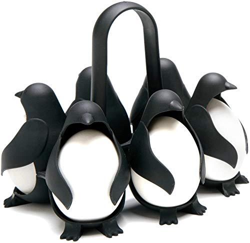 Support Stockage d'oeufs Multifonctionnel, Support Stockage d'oeufs réfrigérateur Cuisine Support cuiseur à Oeufs Vapeur Pingouin,Coquetier pour la Cuisson et Le Stockage de 6 œufs env,Noir