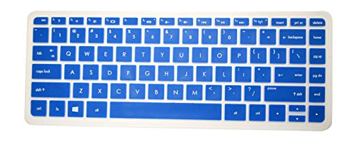PcProfessional Blue Ultra Thin Silicone Gel Keyboard Cover for HP Stream 13 13.3' HP Stream 14 14' HP Split x2 13 ENVY 14' ENVY Touchsmart 14' Laptop with Application Kit (Please Compare Keyboard Layout and Model)