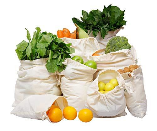 Muslin Produce Bags - Reusable Cotton Produce Bags Washable - Cloth Produce Bags - Produce Bags - Reusable Vegetable Produce Bag - Reusable Bulk Bin Bags - Cloth Veggie Bag Set of 8 2 of XL L M S