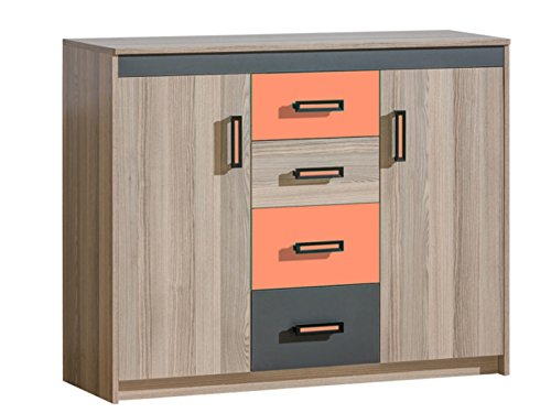SMARTBett GmbH Commode Timo met 2 deuren en 4 laden essenhout donker/oranje dressoir highboard commode voordelig slaapkamer commode