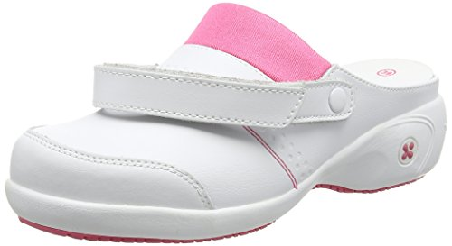 Oxypas Move Up Sandy Slip-resistant, Antistatic Nursing Clogs with Heel in White with Fuchsia Size EU 36 / UK 3.5