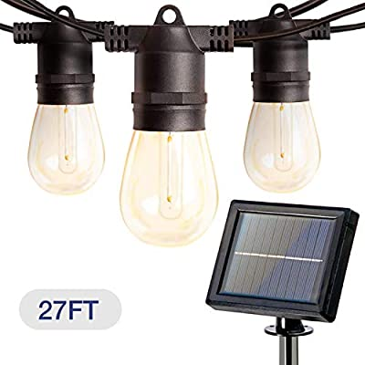 Addlon 27FT Solar String Lights Outdoor, LED Solar Café Patio Lights, Porch Market Light, Waterproof & Shatterproof, With Vintage Plastic Edison Bulbs, Create Cafe Ambience On Your Garden, Warm Yellow