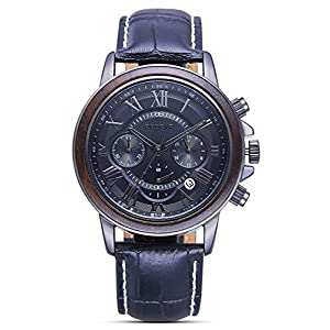 Quartz Watch for Men Wooden Bezel Mens Wrist Watch Handmade Leather Strap Waterproof with Watch Gift Box Watch Case Gift for Men